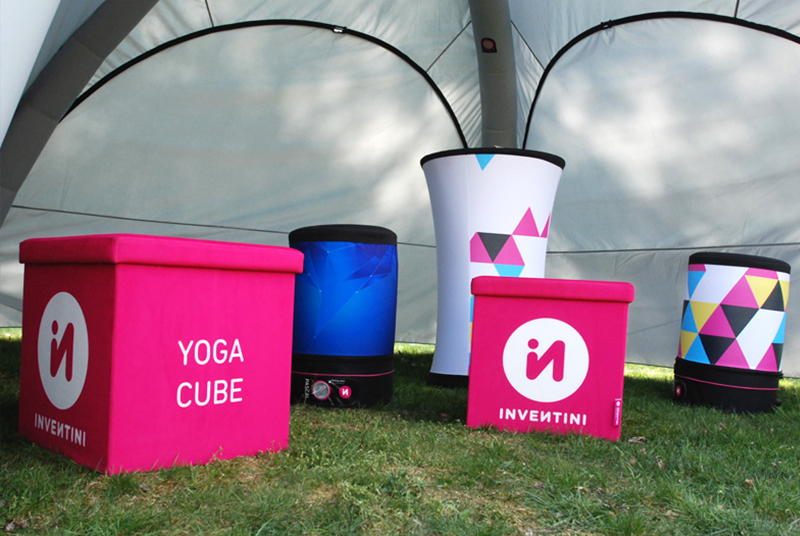 Yoga advertising cubes