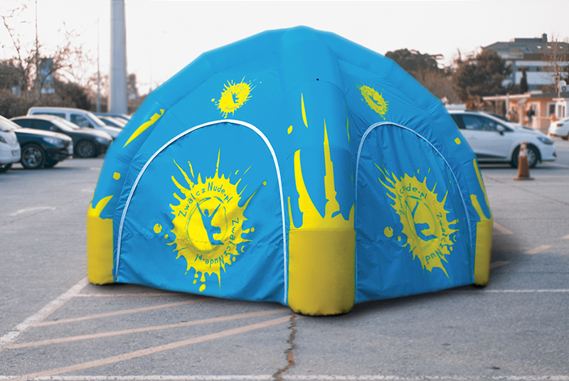 Promotional pneumatic advertising tent
