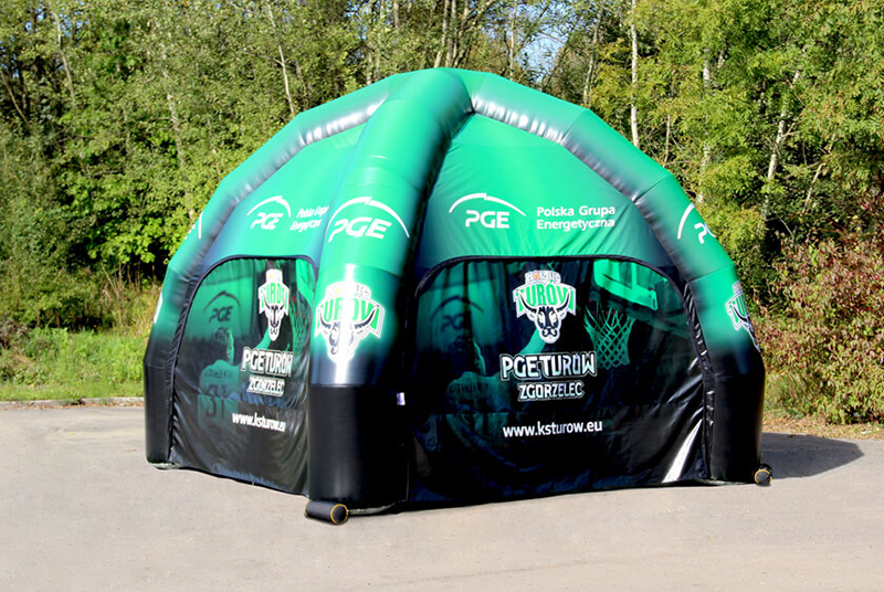 Promotional pneumatic advertising tent with print