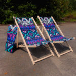 deckchair, deckchair, advertising deck with print, market lounger, trade lounge, event seats